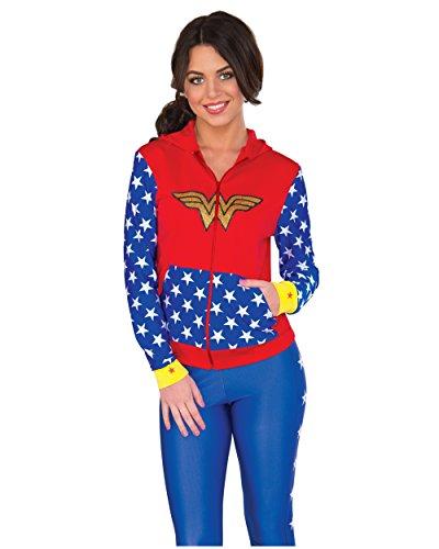Superman Hoodie For Adults (Rubie's Women's Hoodie, Wonder Woman, Medium/Large)