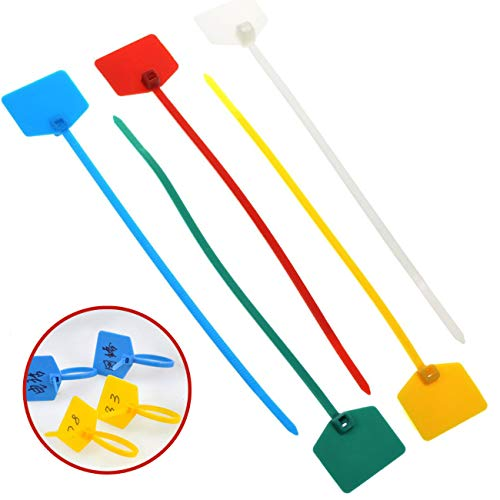 TinaWood 100 Pcs Cable Mark Tags Nylon Power Marking Label Write on Ethernet Wire Zip Ties ()