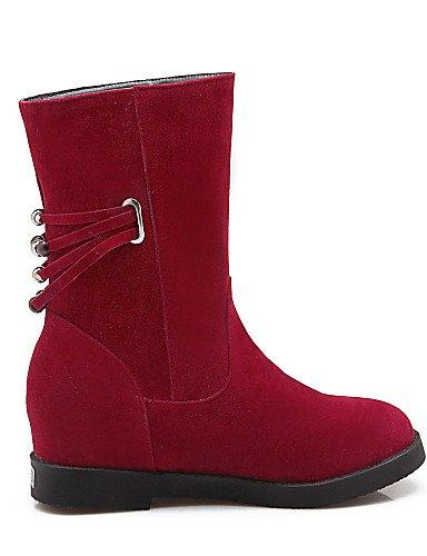 Beige 5 Vellón Red Rojo Eu35 Cn34 Eu38 Xzz us5 Zapatos De us7 Cn38 Negro Casual A Mujer La Uk3 Cuñas Uk5 Beige Redonda Botas Tacón Cuña Punta Moda Vestido 5 AgUqx6wA