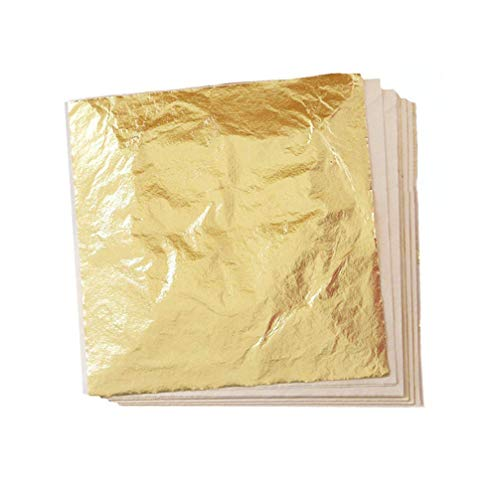 100 Sheets Imitation Gold Leaf 5.5 x 5.5 Inches Gilding Foil Paper for Arts, Gilding Crafting, Decoration (Gold)
