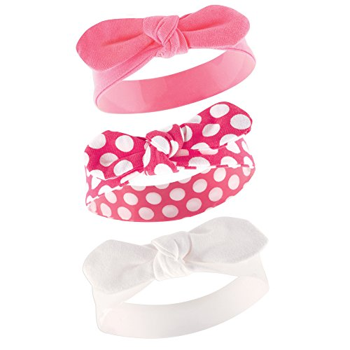 Yoga Sprout Baby Girls' 3 Pack Bow Baby Headbands,Pink Polka Dot,0-24 Months -