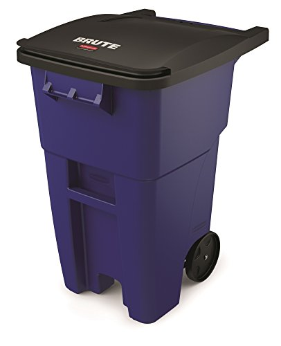 Rubbermaid Commercial BRUTE Roll-Out Recycle Bin with Lid, 50 Gallon, Blue, (Curbside Recycling Containers)