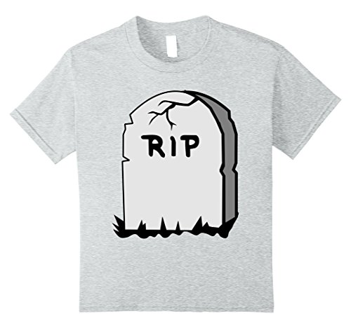 Kids RIP Tombstone Shirt Halloween Graveyard Grave T-Shirt 10 Heather Grey