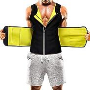 Mens Sauna Suit Waist Trainer Vest Hot Sweat Neoprene Body Shaper Tummy Workout Fat Loss Zipper Tank Top
