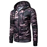Corriee Men Hoodies Men's Fashion Long Sleeve Camouflage Print Hooded Coat Casual Zipper Sport Outwear Blouse with Pockets