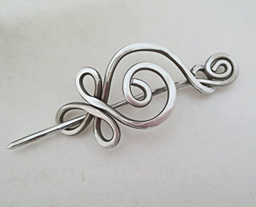 Celtic Budding Spiral Aluminum Shawl Pin, Scarf Pin, Sweater Brooch