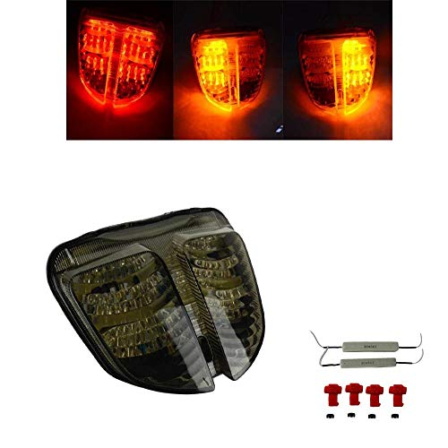 Motorcycle Rear Taillight Tail Brake Turn Signals Integrated LED Light Smoke For Suzuki GSXR600 GSXR750 GSXR GSX-R 600 750 K6 2006-2007 GSXR600 750 06 07 (Smoke)