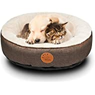 HACHIKITTY Dog Bed Washable Removable Cover Small Medium Round Indoor Cat Bed Waterproof Chew Resistant Cuddler Pet Bed 24 Dog Beds for Medium Dogs