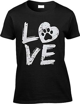 Blittzen Womens/Ladies Love Paw Print In Heart, S, Black