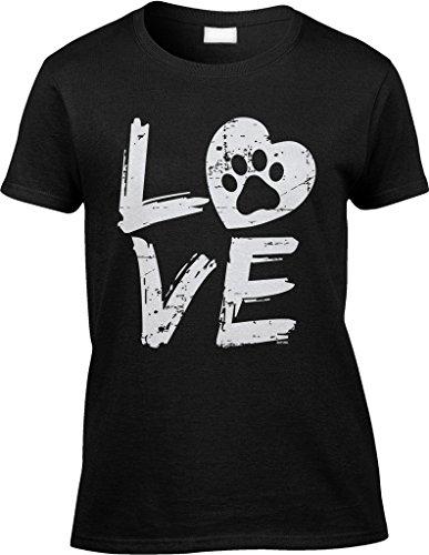 Blittzen Womens/Ladies Love Paw Print In Heart, M, Black Heart Dog Tee