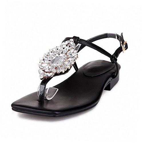 AmoonyFashion Solid Buckle Black Low Womens Toe Sandals Heels Split rqwYrpxXU