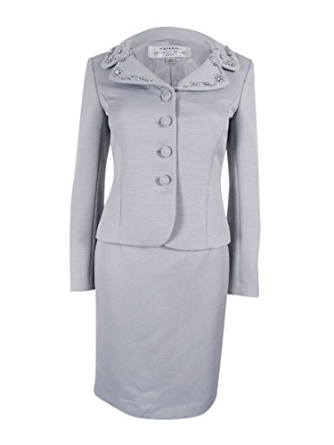 Tahari ASL Women's Petite Faille Skirt Suit with Beading, Granite, 2 Petite by Tahari by Arthur S. Levine (Image #1)