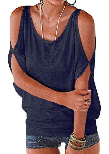 ISSHE Rundhals T Shirt Schulterfrei Damen Sommer Lockere T Shirts Kurzarm  Frauen Oversize Shirt Tops Schöne 824cfef630