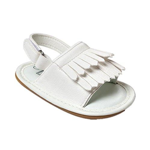 Bebé Prewalker Zapatos Auxma Sandalias de cuero de la princesa Firstwalker de la princesa Soled-Soled de la borla del verano del niño de los bebés Blanco