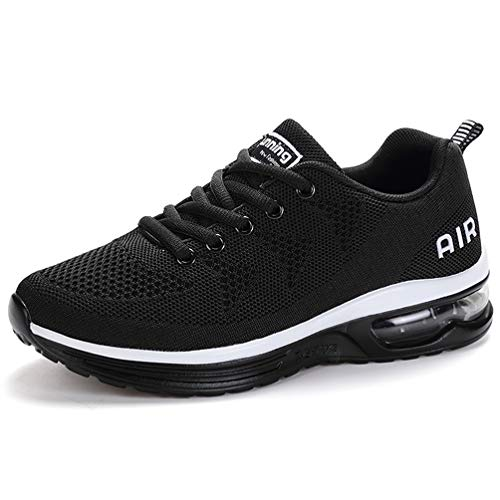 RUMPRA Women Sneakers Lightweight Air Cushion Gym Fashion Shoes Breathable Walking Running Athletic Sport(Black,43)