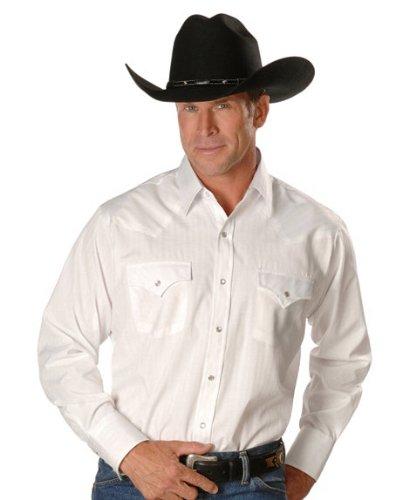 Ely Cattleman Men's Dobby Solid Western Dress Shirt White (Western Yoke)