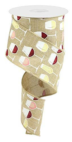 베이지 색 테마 리본 | 크리스마스 트리 화환의 와인 잔 빨강 흰색 장미 샴페인이 특징 인 2.5X10 야드