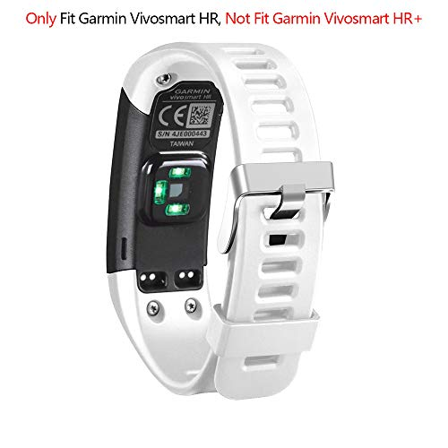 Band for Garmin Vivosmart HR, Soft Adjustable Silicone Replacement Wrist Watch Band Accessory for Garmin Vivosmart HR (No Tracker, Replacement Bands Only) (White)