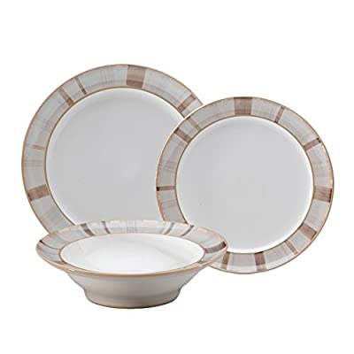 Denby Truffle Layers 12-Piece Dinnerware Set - Set includes 4 Dinner Plates, 4 Salad Plates and 4 Soup/Cereal Bowls Made from Stoneware Stoneware clay is very strong; It is fully vitrified which gives it strength, durability and chip resistance - kitchen-tabletop, kitchen-dining-room, dinnerware-sets - 41Z4WoEAtVL. SS400  -