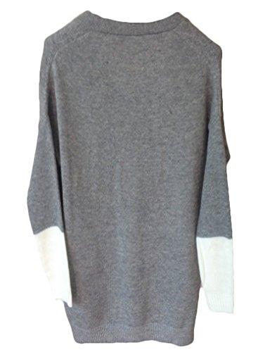 MILEEO Femme Gilet Pull cardigan long lâche veste à manches longues blanches partie slim &fit