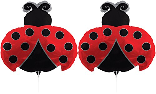 Foil Ladybugs (Set of 2 Foil Air Filled Balloons! Helium Free - Sticks and Joiner - Stars - Unique Themes - Party Balloons and Birthday Balloons Perfect for any Party Decoration! (2ct Ladybug 30