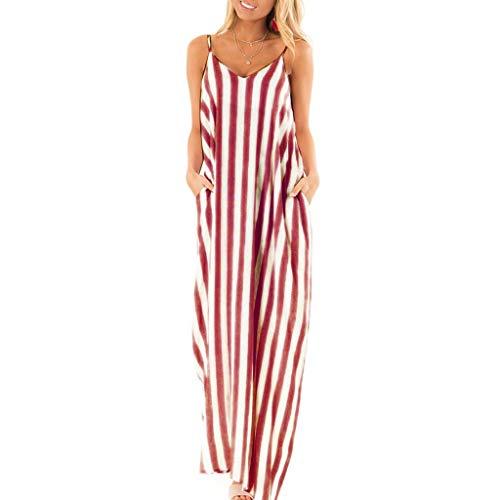 MILIMIEYIK Boho Women's Sleeveless Racerback and Long Sleeve Loose Plain Maxi Dresses Casual Long Dresses with Pockets Red - Elegance Full Figure Bra