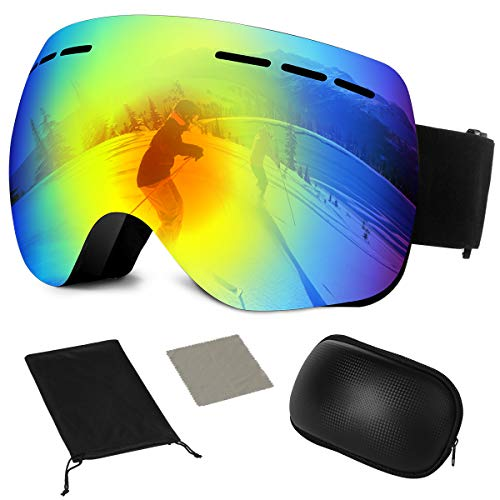 Ski Goggles,Snowboard Goggles Over Glasses,Snow Goggle UV Protection Interchangeable Lens,Helmet Compatible for Men Women Youth Skiing Skating Snowboarding Sports - Frameless,Anti-Fog,Anti-Slip