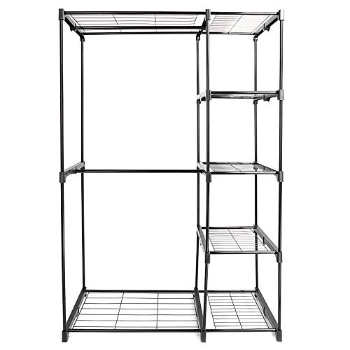 (MATAS 5 Tier Rack Hanger Clothing Portable Closet Storage Organizer Wardrobe Clothes Rack Shelves Garment Black Carbon Steel)