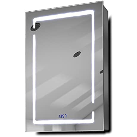 Filia Clock LED Bathroom Mirrored Cabinet With Demister Pad Sensor Shaver K386