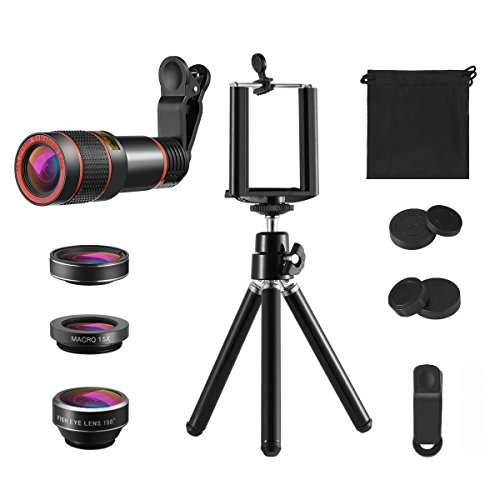KeeKit Phone Camera Lens, 4 in 1 Lens for iPhone, 12X Telephoto Lens + 198° Fisheye + 15X Macro Lens + 0.63X Wide Angle with Phone Holder for iPhone X/ 8/8 Plus/ 7, Samsung & Smartphones by KeeKit