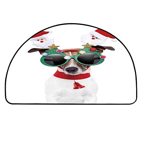 MOOCOM Christmas Half Round Door Mat,Funny Puppy Jack Russel Dog with Hilarious Sunglasses Santa Figures and Bell for Indoor Outdoor,27.5