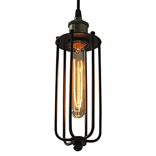 BAYCHEER HL371399 Industrial Vintage Edison Style LOFT Mini Wire Cage Hanging Lamp Light Pendant Light with 1 Light