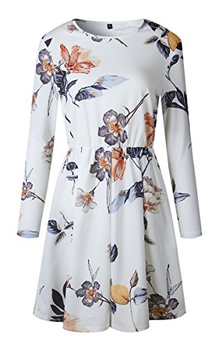 A Womens Line Dress Swing White Casual Sleeve Pleated Skater Print Floral Long Mini Dresses Angashion vdRfqPSS