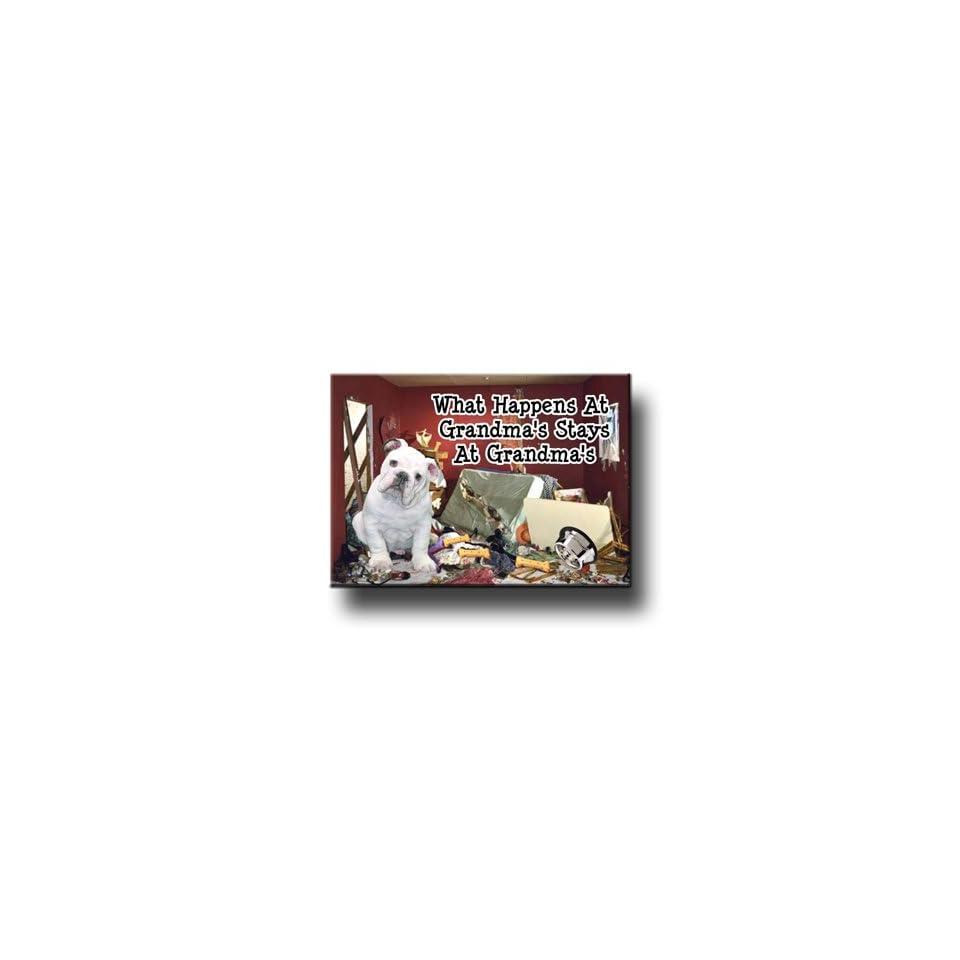 English Bulldog What Happens At Grandmas Fridge Magnet # 3