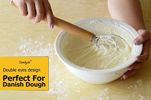 CAMKYDE Danish Dough Whisk 13-Inch Wooden Handle Dutch Dough Whisk