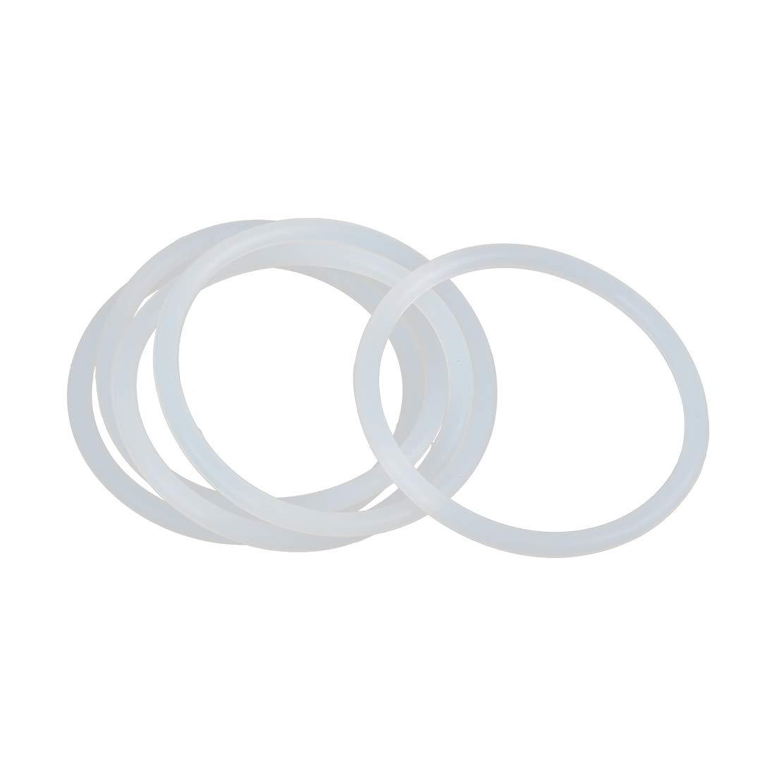 X AUTOHAUX 5pcs Blanc Silicone Caoutchouc Joint Torique Joint /étanch/éit/é pour Voiture 60mm x 4mm