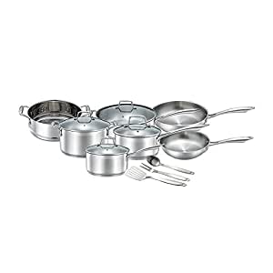 Chef's Star Professional Grade Stainless Steel 14 Piece Pots & Pans Set - Induction Ready Cookware Set with Impact-bonded Technology