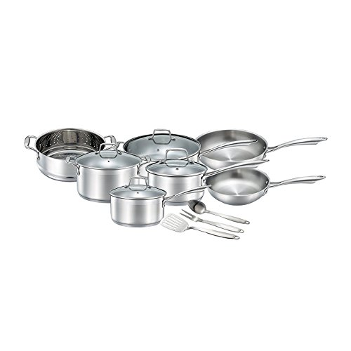 17pc Stainless Cookware Set (Chef's Star Professional Grade Stainless Steel 14 Piece Pots & Pans Set - Induction Ready Cookware Set with Impact-bonded Technology)