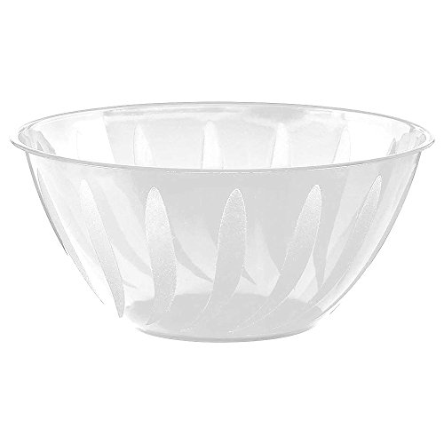 Amscan 438805.08 Stylish Swirl Plastic Bowl Table Reusable Serveware and Dishware Party Supplies, 5 Qt, White