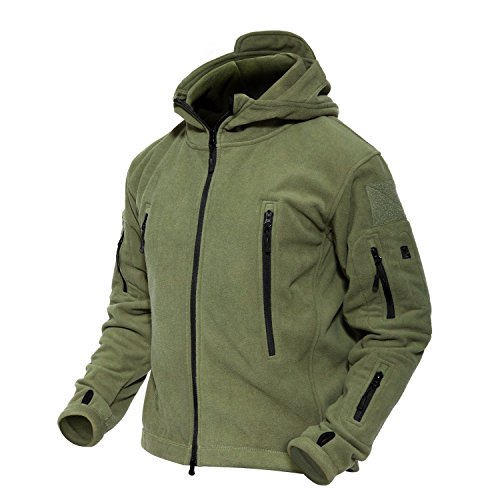 MAGCOMSEN Men 's Windproof Warm Military Tactical Fleece Jacket, Army Green, US XL (Fit Chest 41