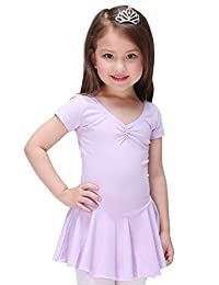 Children Dance Dress Leotard Breathable Short Sleeve Fashion Ruffle for Training