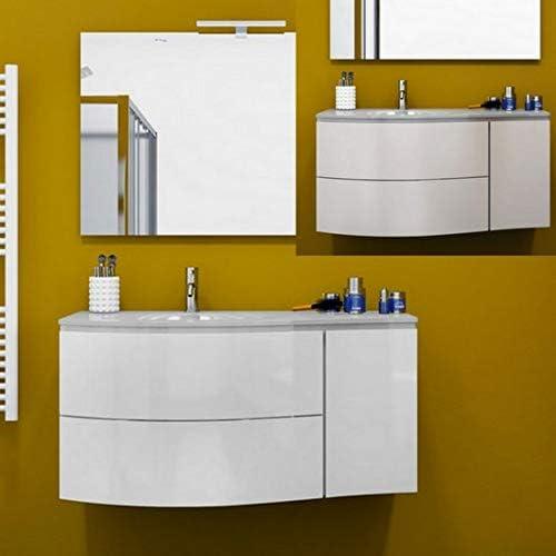Bagno Italia Mueble de baño de 110 cm, suspendido, con Lavabo de Cristal no centrado