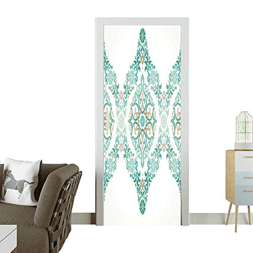 Homesonne Decorative Door Decal Ottoman Mosaics in Royal Victorian Palace Retro Print Teal Stick The Picture on The doorW30 x H80 INCH