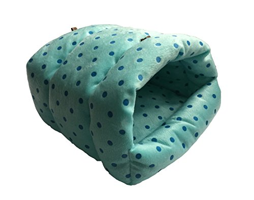 WOWOWMEOW Guinea-Pigs Bed,Hamster Bed,Small Animals Warm Hanging Cage Cave Bed (L, Dot- Blue)