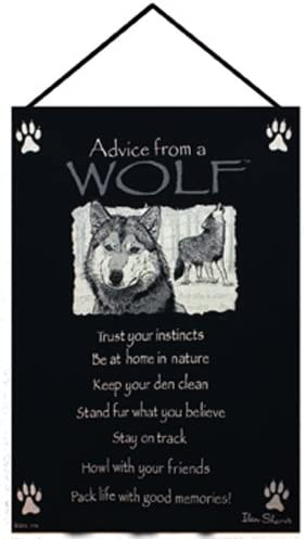 Black Advice from A Wolf Wall Art Hanging Tapestry 17 x 26