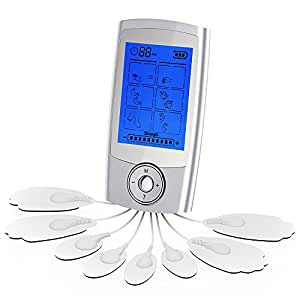 FDA Cleared Rechargeable 16 Modes Tens Unit with 8 Pads, Pain Relief Machine Electric Pulse Impulse Mini Massager Muscle Stimulator