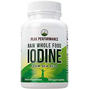Raw Whole Food Iodine from Organic Kelp (Ascophyllum Nodosum) by Peak Performance. Thyroid Support Supplement. Great…