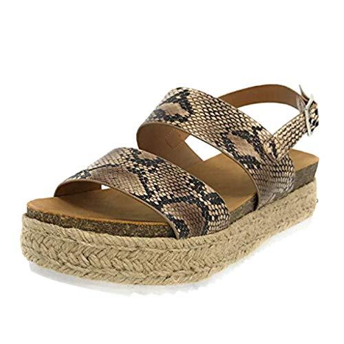 Cenglings Women's Platform Sandals, Espadrilles Trim Open Toe Leopard Print Wedge Shoes Buckle Ankle Strap Beach Shoes Black