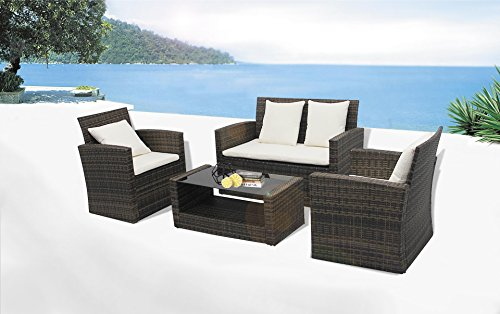 Richly Outdoor Indoor Furniture Set 4 Pieces Patio Rattan Wicker Sofa Set, Brown