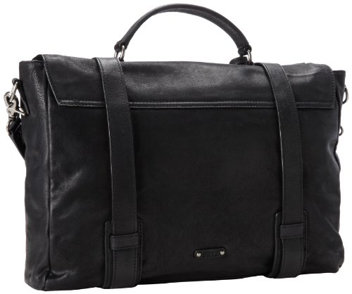 Frye Men S Logan Flap Briefcase Pressed Nubuck Black One